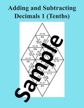 Adding and Subtracting Decimals 1 (Tenths) – Math Puzzle