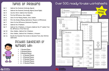 Adding and Subtracting Decimals Worksheets, Decimal Addition and Subtraction