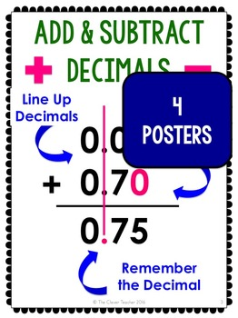 Adding and Subtracting Decimals - Lesson Plans, Task Cards, and Quiz