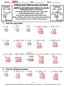 Adding and Subtracting Decimals Review: Warm up Sheet, Guided Notes, Worksheet