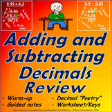 Adding and Subtracting Decimals Review: Warm up Sheet, Gui