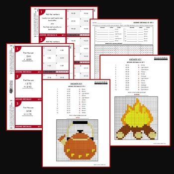 Adding and Subtracting Decimals Coloring Worksheets and Task Cards For Centers