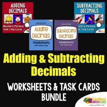 Add and Subtract Decimals Task Cards and Worksheets Bundle