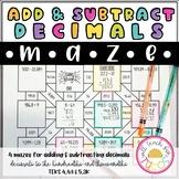 Adding and Subtracting Decimals Maze 4.4A & 5.3K