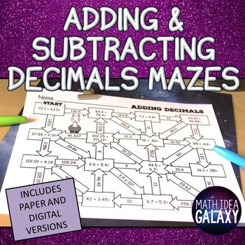 Adding and Subtracting Decimals Activity