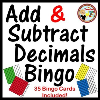 Decimals - Adding and Subtracting Decimals Bingo (w/ 35 Bingo Cards!)
