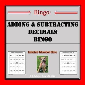 Adding and Subtracting Decimals Bingo (30 pre-made cards!)