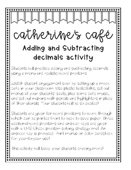 Adding and Subtracting Decimals Cafe Activity