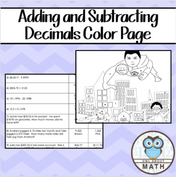 Adding and Subtracting Decimals Color By Number