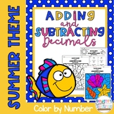 Adding and Subtracting Decimals Color by Number Summer Theme