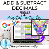 Adding and Subtracting Decimals: Coloring Page