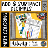 Halloween Math Adding and Subtracting Decimals Coloring Pa