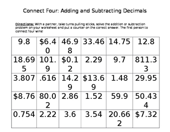 Adding and Subtracting Decimals Connect Four