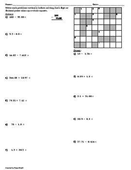 Adding and Subtracting Decimals Cross-Number Puzzle