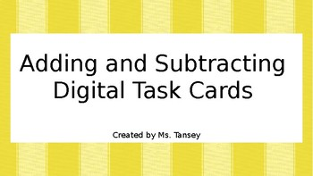 Adding and Subtracting Decimals Digital Task Cards