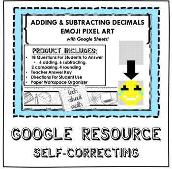 Adding and Subtracting Decimals Emoji Pixel Art with Google Sheets