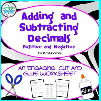 Adding/Subtracting Decimals - Engaging Cut-and-Glue Activity: 7.NS.1/6.NS.B.3