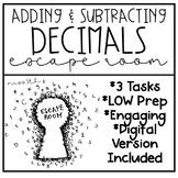 Adding and Subtracting Decimals Escape Room