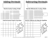 Adding and Subtracting Decimals Fill-In Resource Page