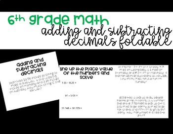 Adding and Subtracting Decimals Foldable