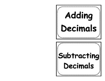 Adding and Subtracting Decimals Foldable (Flippable)