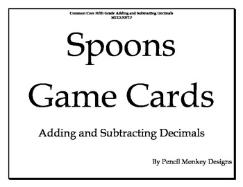 Adding and Subtracting Decimals Game Cards