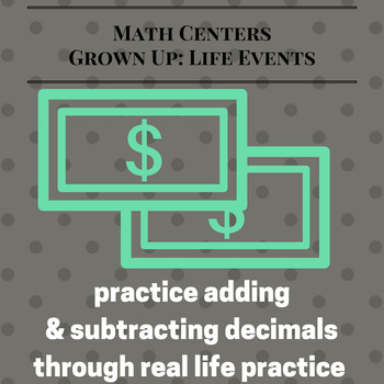 Adding and Subtracting Decimals Game: Life Event EXTENDED Version