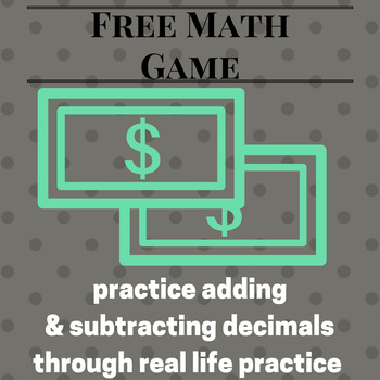 Adding and Subtracting Decimals Game: Life Event Free Version
