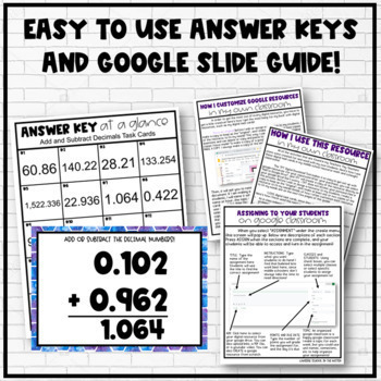 Adding and Subtracting Decimals Google Slide/ Digital Task Cards