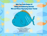 Adding and Subtracting Decimals Grades 4-5-Task Cards- Ocean Theme