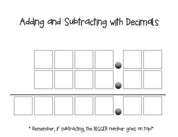 Adding and Subtracting Decimals Graphic Organizer