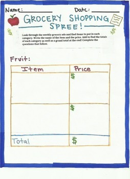 Adding and Subtracting Decimals- Grocery Shopping Spree