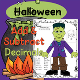Adding and Subtracting Decimals Halloween Color by Number