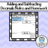 Adding and Subtracting Decimals Notes and Homework