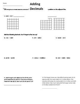 Adding and Subtracting Decimals Homework Assignment