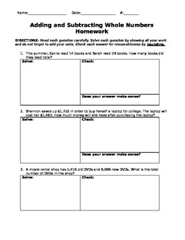 Adding and Subtracting Decimals Homework Part 2