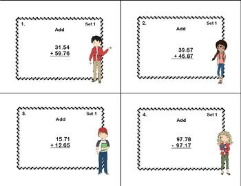 Adding and Subtracting Decimals-Hundredths and Thousandths-Task Cards