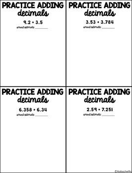 Adding and Subtracting Decimals [Interactive Notebook]