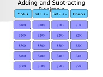 Adding and Subtracting Decimals Jeopardy Review