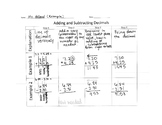 Adding and Subtracting Decimals Journal Graphic Organizer