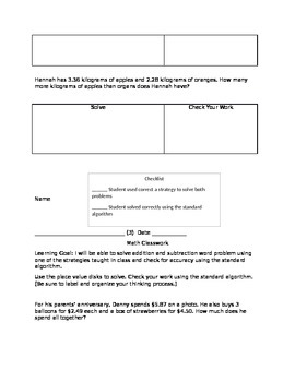 Adding and Subtracting Decimals Lesson and Student Sheets