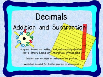Adding and Subtracting Decimals for Smart Board or Interactive Whiteboard