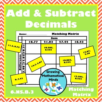 Adding and Subtracting Decimals Matching Matrix
