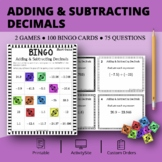 Adding and Subtracting Decimals Math Bingo Review Game