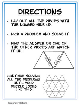 Add and Subtract Decimals Math Center Puzzle Activity