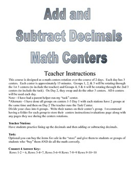 Adding and Subtracting Decimals Math Centers and Activities