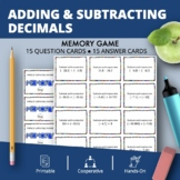 Adding and Subtracting Decimals Math Memory Game
