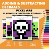Halloween Math: Adding and Subtracting Decimals Pixel Art