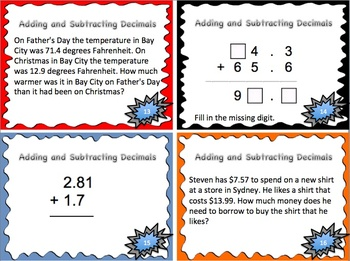 Adding and Subtracting Decimals Math Task Cards {hundredths place}