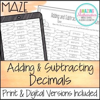 Adding and Subtracting Decimals Maze
